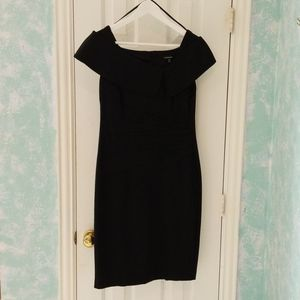 Black Fitted Boat Neck Dress